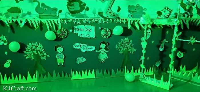Green day crafts for kids, toddlers, preschool - Green World Of Animals And Humans