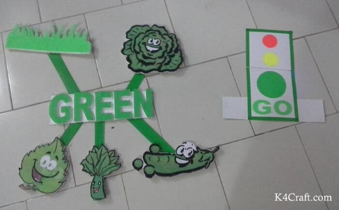 Green day crafts for kids, toddlers, preschool - Road Green Light Signal