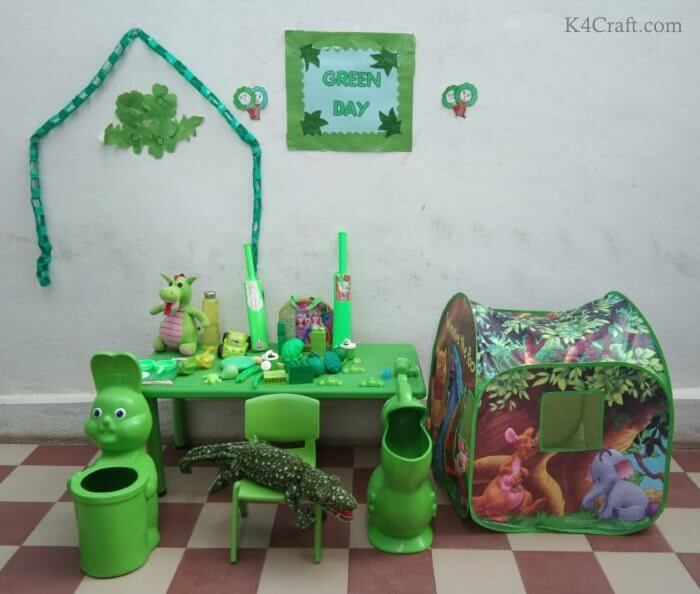 Green day crafts for kids, toddlers, preschool - Make Green Day Room And Toy
