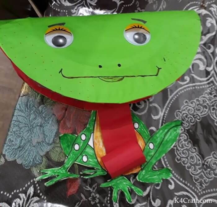 Green day crafts for kids, toddlers, preschool - Paper Green Frog Activity For Children
