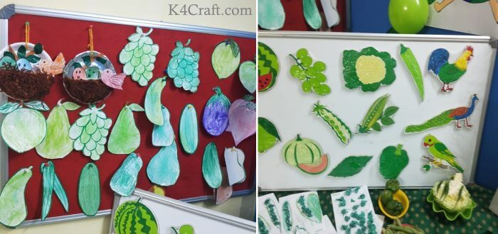 Green day crafts for kids, toddlers, preschool - Paper Bird Nest With Green Fruit And Animal