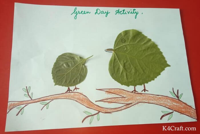 Green day crafts for kids, toddlers, preschool - Simple Leaf Birds Drawing