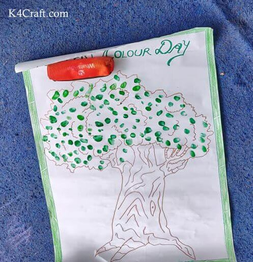 Green day crafts for kids, toddlers, preschool - Green Color Day Tree Poster For Kids