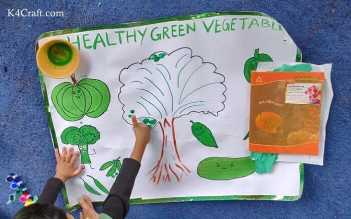 Green day crafts for kids, toddlers, preschool - Healthy Green Vegetables