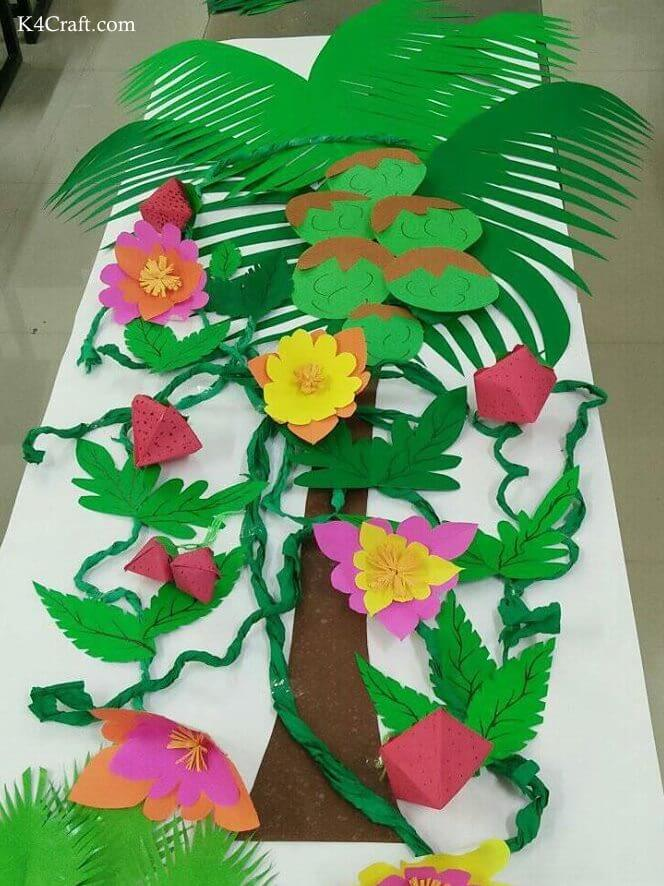 Green day crafts for kids, toddlers, preschool - DIY Coconut Tree Activity
