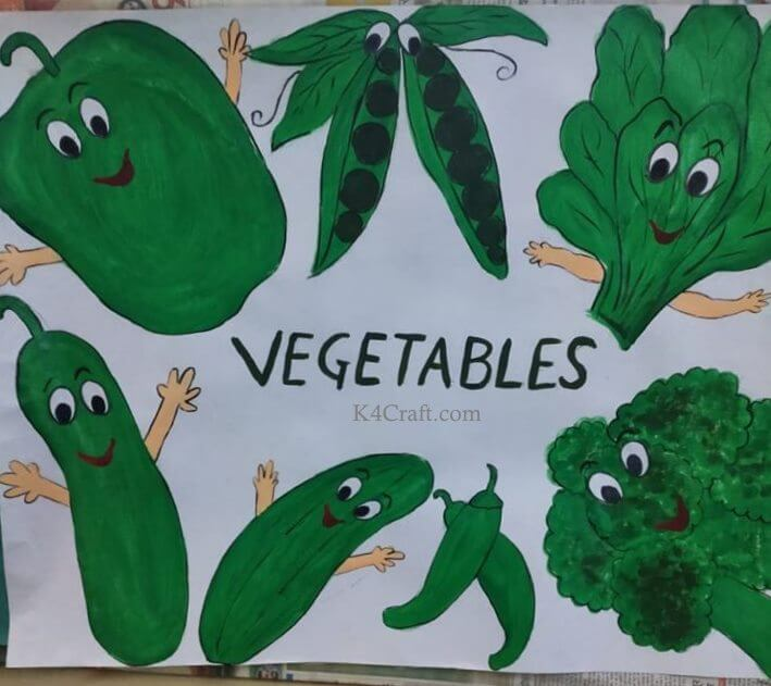 Green day crafts for kids, toddlers, preschool - Green Color Day Vegetables