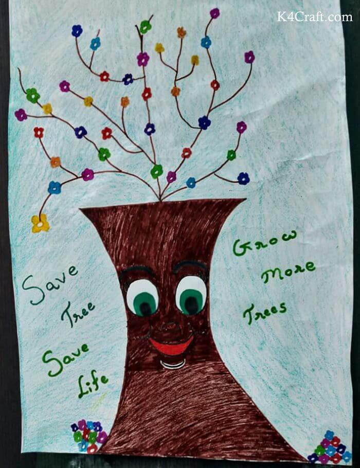 Green day crafts for kids, toddlers, preschool - Adorable Grinning Tree Activity For Kids