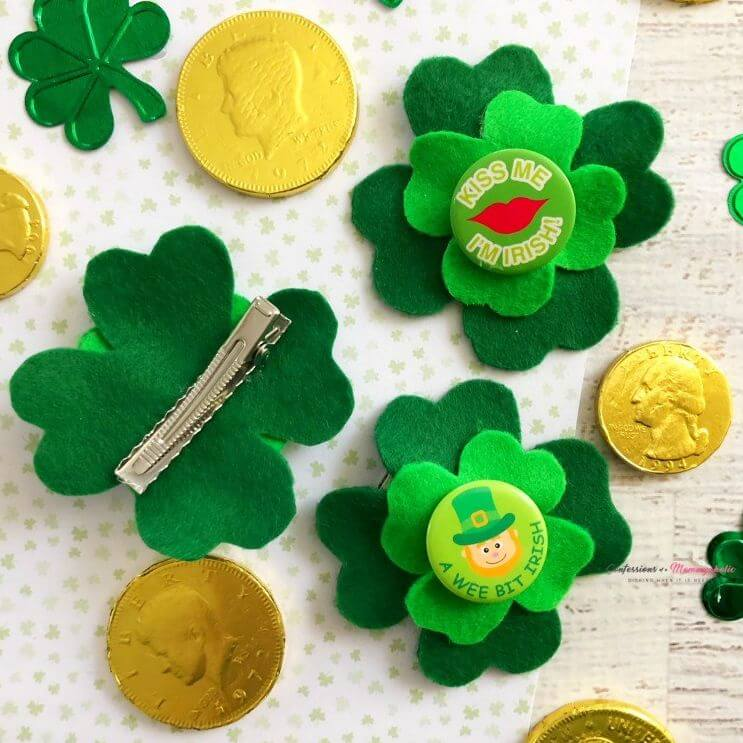 Felt cloth shamrock clips St. Patrick's Day Crafts