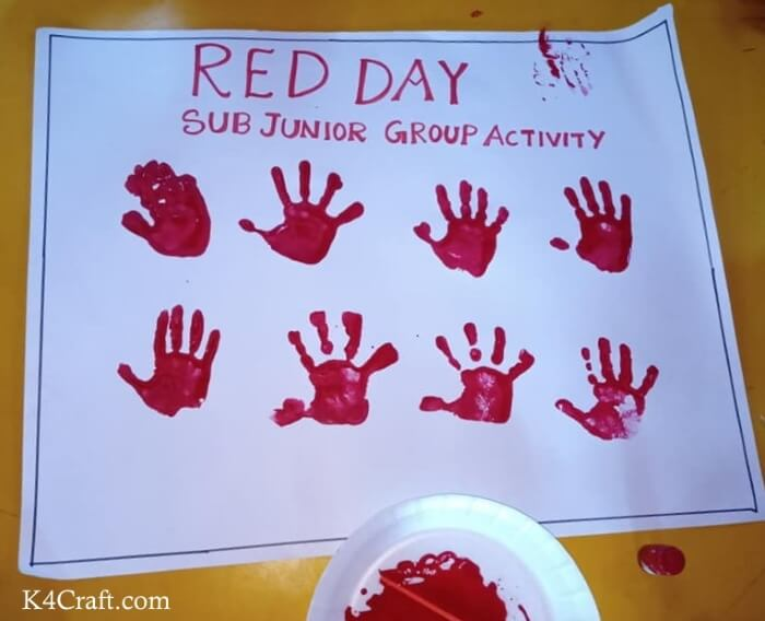 Sub Junior Group Red Hand Print Activity