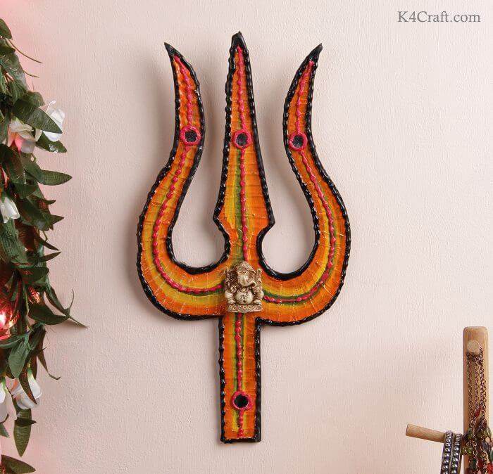 Learn to Make Cardboard Trishul for Shivratri Decoration