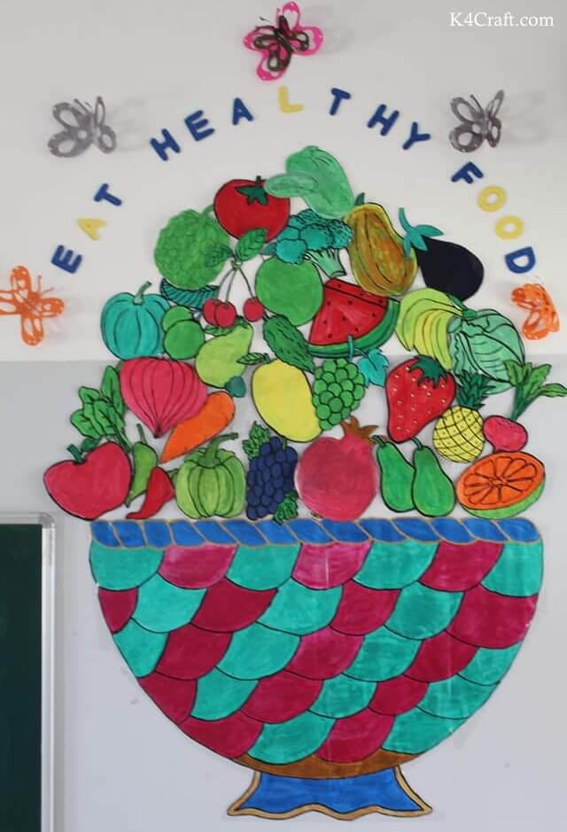 Green day crafts for kids, toddlers, preschool - Eat Healthy Food Activity For Preschool
