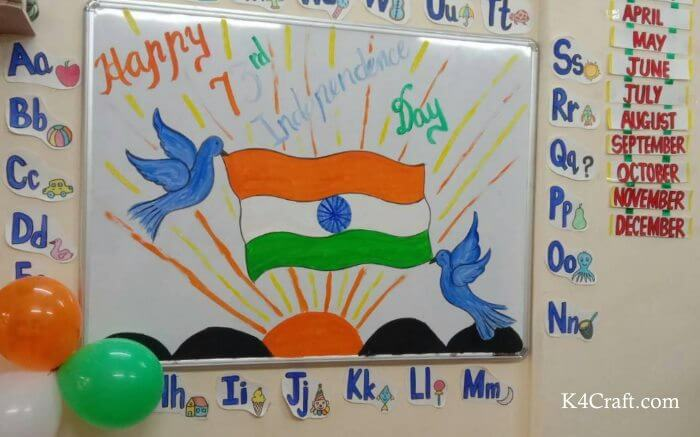 Republic Day White Board Decoration Craft Idea