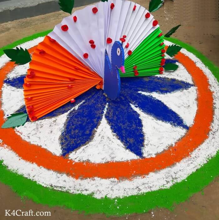 National Bird Sum Flag Rangoli