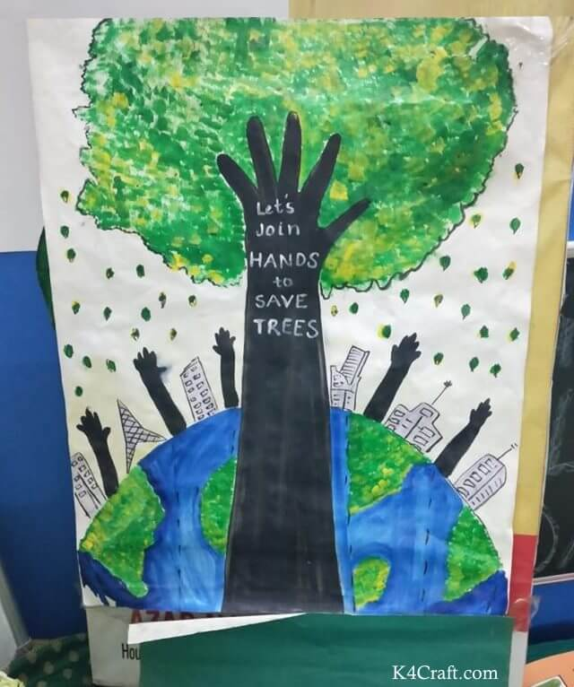 Green day crafts for kids, toddlers, preschool -   Let's Join Hands To Save Trees