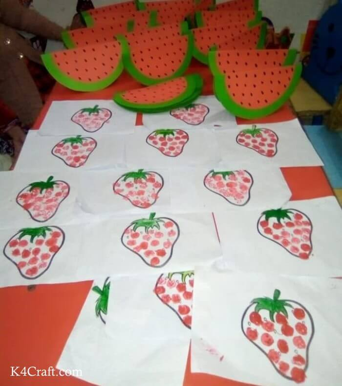 Easy Paper Watermelon And Strawberry Craft