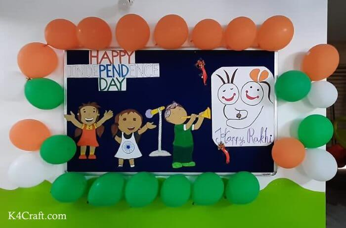 Decorating Notice board with Drawings and Balloons for 26 January
