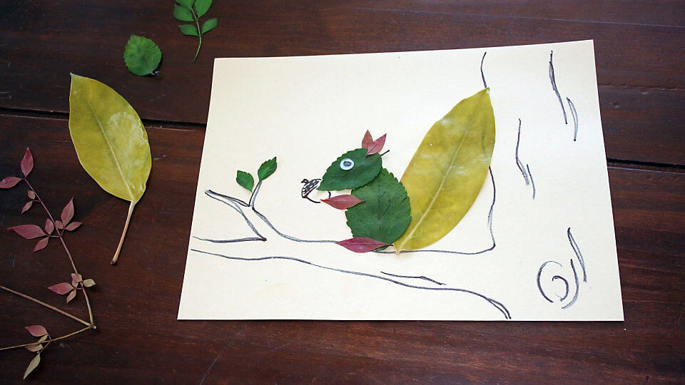 Squirrel Using Leaf Painting