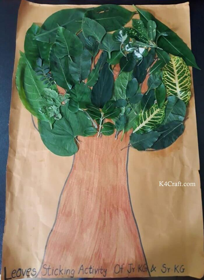 Green day crafts for kids, toddlers, preschool - Make Leaves Sticking Activity For Preschool