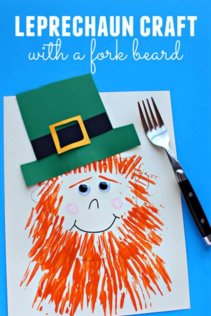 Leprechaun Craft with fork beard - St. Patrick's Day Crafts for prechool kids