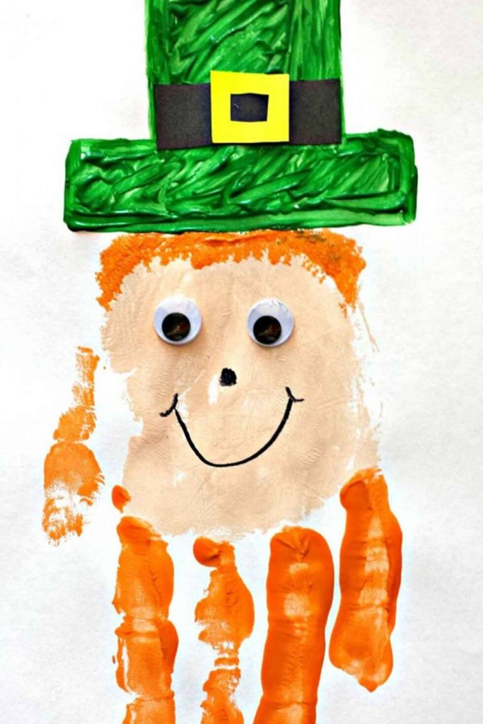 DIY Handprint St. Patrick's Day crafts for toddlers
