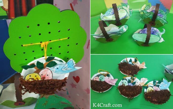 Green day crafts for kids, toddlers, preschool - Bird Nest And Vegetable Green Color Craft