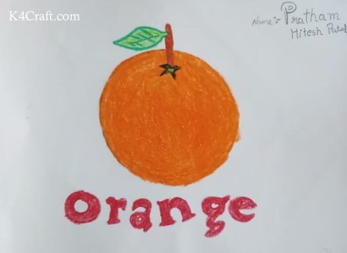 Orange Fruit Drawing Idea For Kids