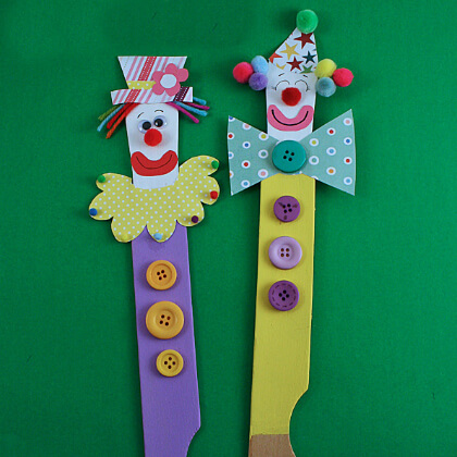Popsicle clowns puppet making crafts DIY Puppet Making Crafts Kids Will Love