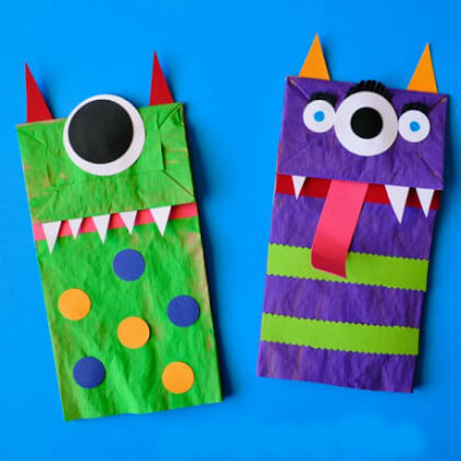 Brown paper monsters puppet making crafts DIY Puppet Making Crafts Kids Will Love