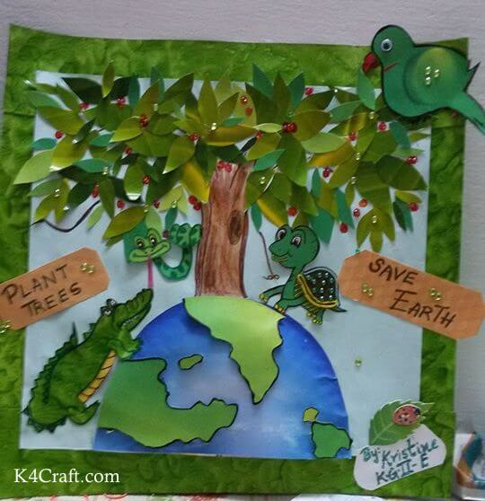 Green day crafts for kids, toddlers, preschool - Plant More Trees And Save Earth Poster