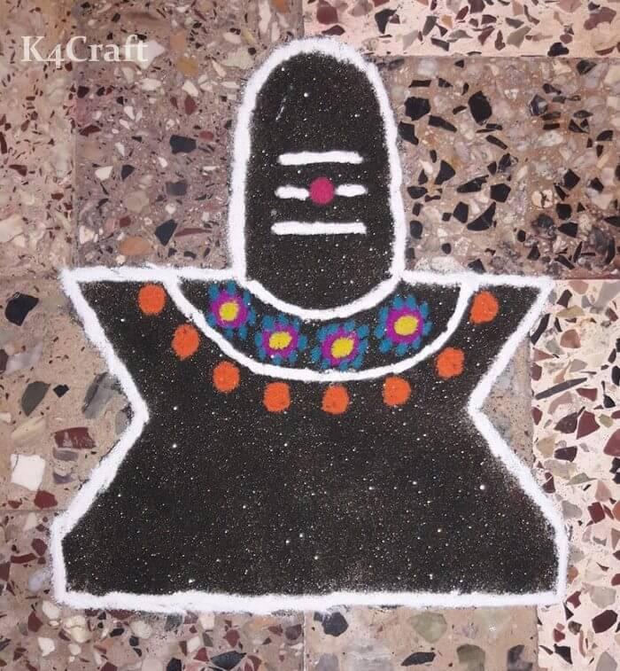 Shiva Ling Rangoli design for Maha Shivratri
