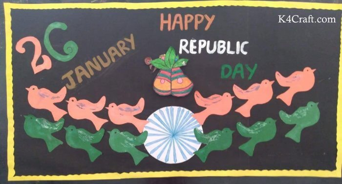Colored Chalk drawing on Blackboard Republic day craft Idea