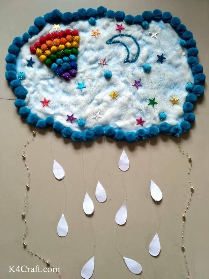 Woolen Sky World Activity - Easy Blue Day Craft Ideas & Activities For Kids preschool kindergarten