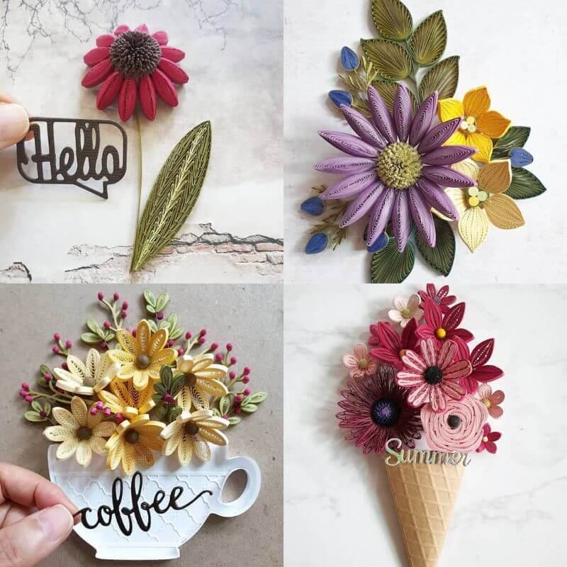 Flowers and flower bouquets using quiling