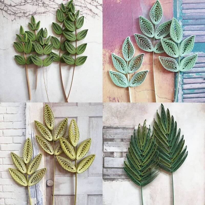 Beautiful leaf patterns using quiling techniques