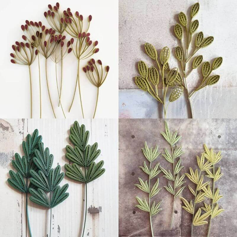 Flower leaves and sticks quiling