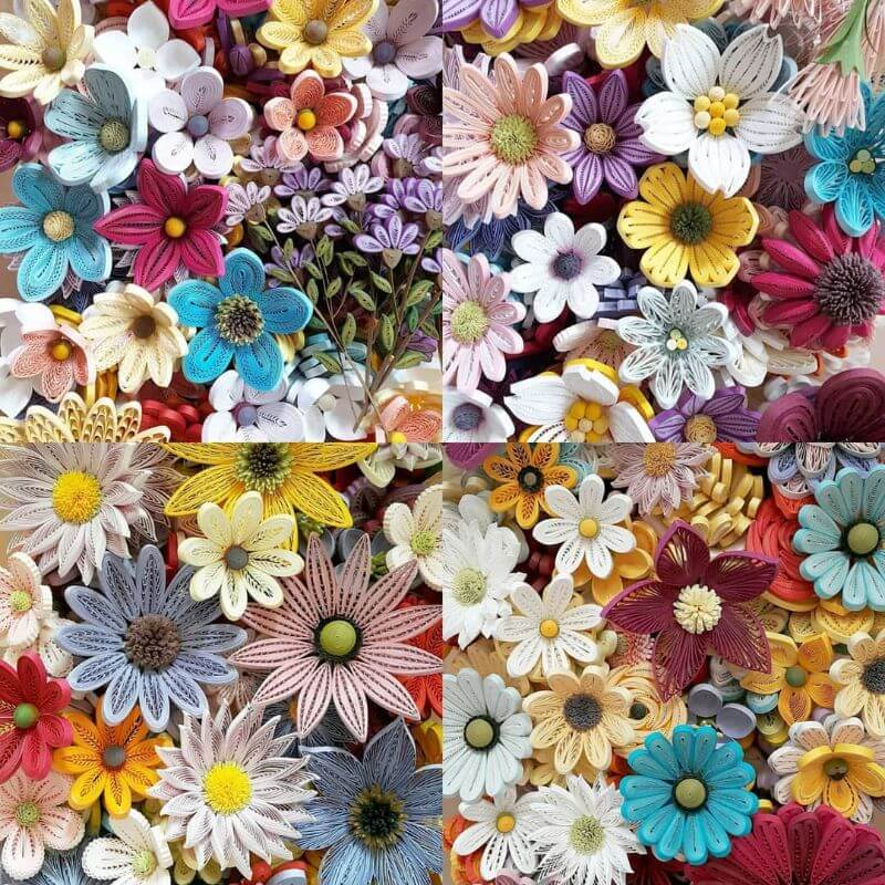 Bright flower quiling patterns collections