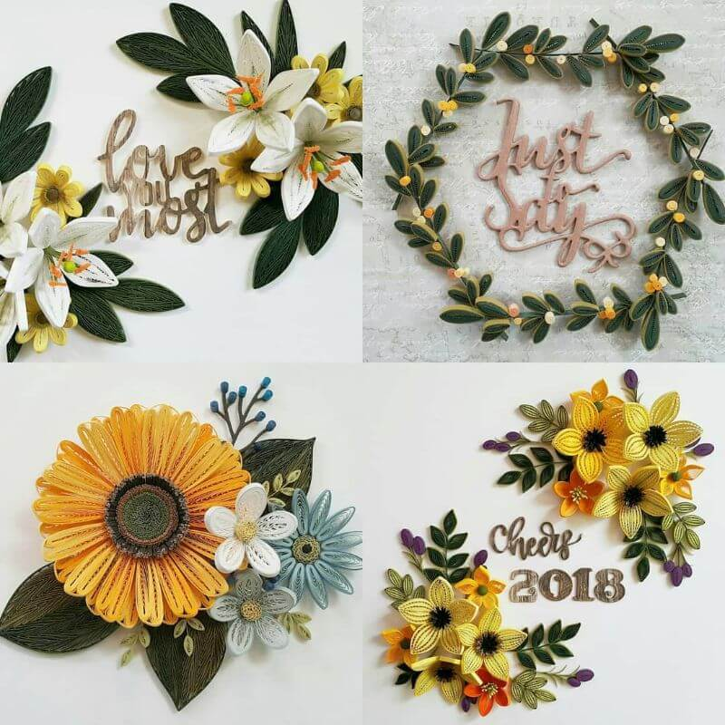flower quiling designs fit for spring season