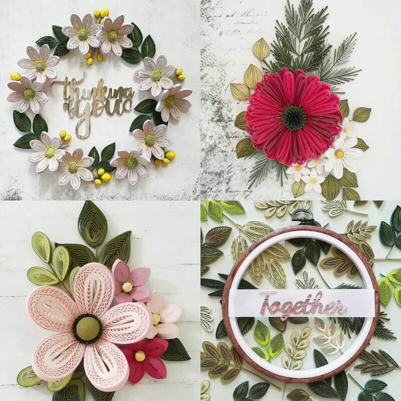 """Pastel shade flower quiling designs """"100 Quilling Flower Designs by Hae Kyoung Kim"""" is locked 100 Quilling Flower Designs by Hae Kyoung Kim"""
