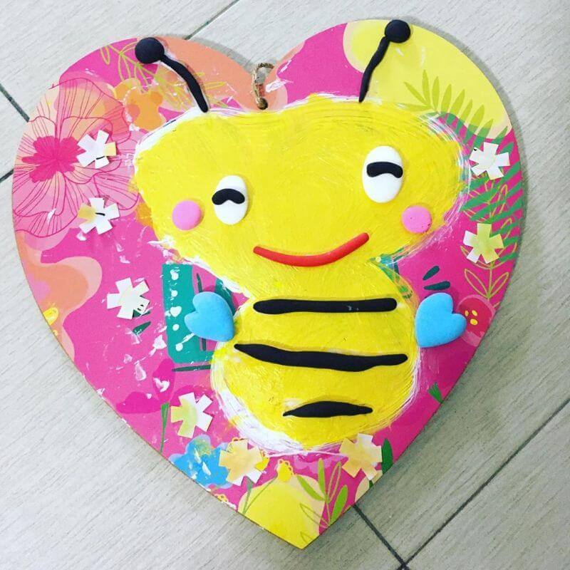 Cute Bee on Heart craft for kids