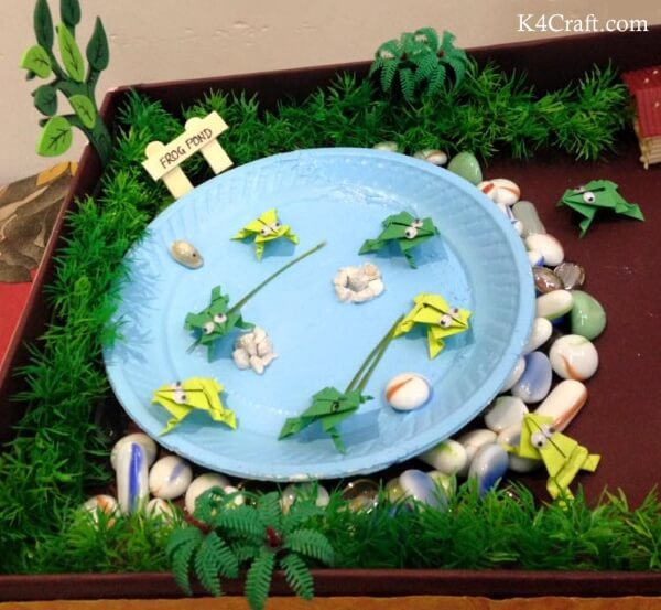 National Frog Month Craft Projects for Kids, toddlers, preschoolers - Beautiful Pond Scene Frog Craft Ideas