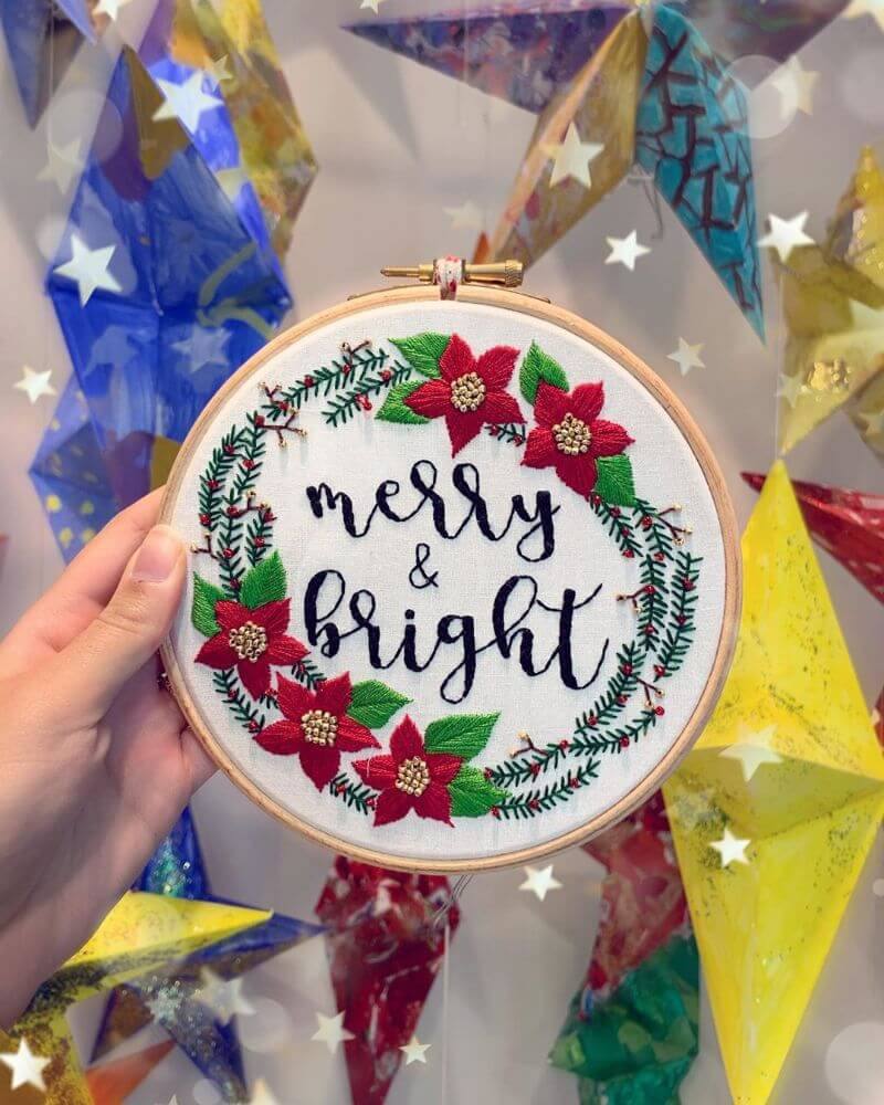 Merry & Bright for Christmas Embroidery design Work