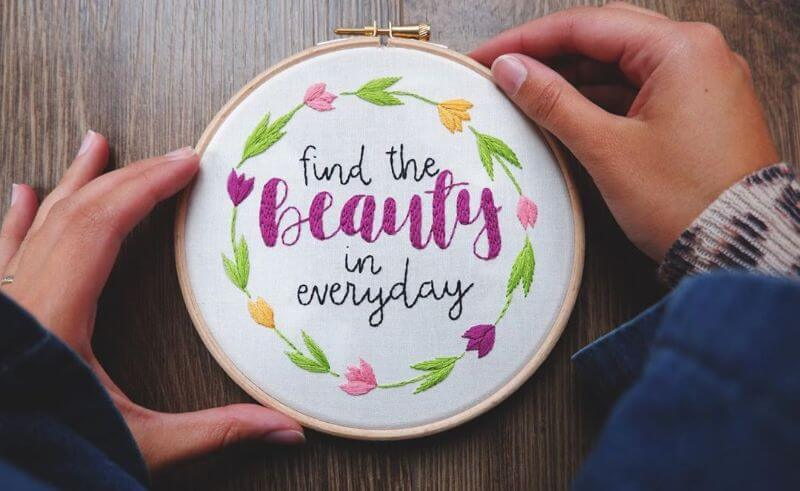 Encouraging Embroidery Work Hand-stitched floral embroidery designs