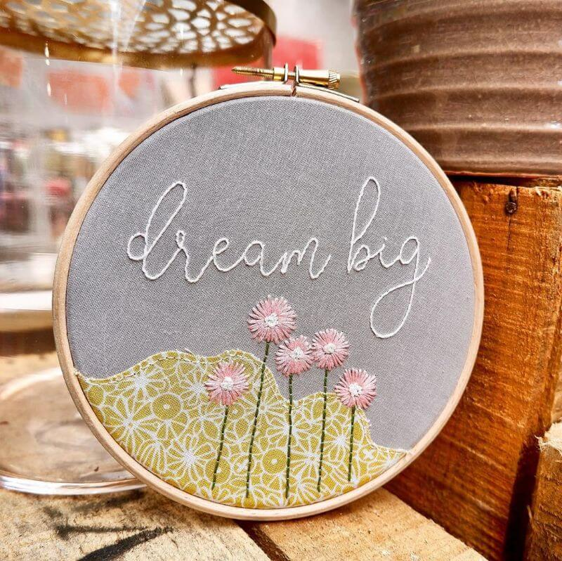 Hopeful Embroidery work Hand-stitched floral embroidery designs