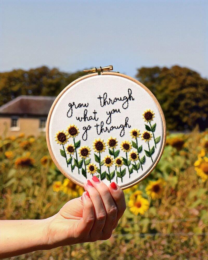 Cheerful Hand-stitched floral Embroidery work