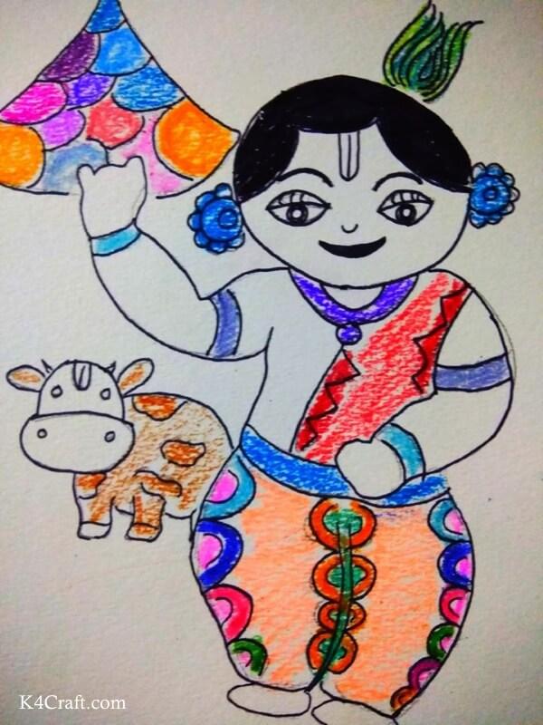 Beautiful Holi Drawing for kids