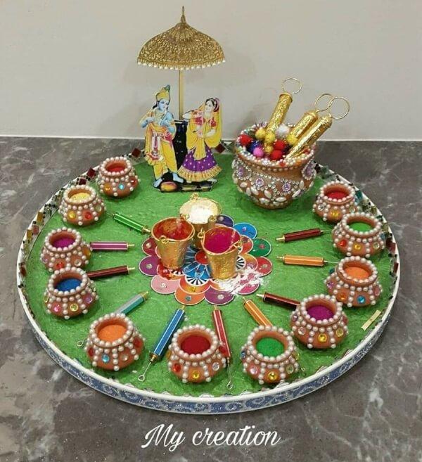 Decorating the Holi Thali