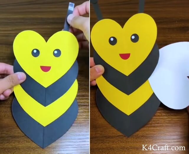 Heart Shaped Bee Craft for Kids - Step by Step Tutorial