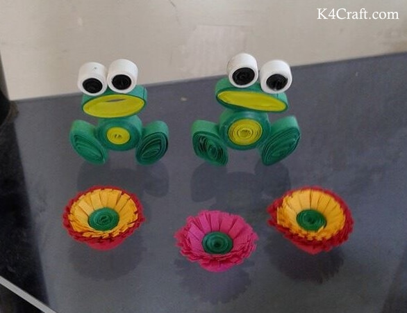 National Frog Month Craft Projects for Kids, toddlers, preschoolers - Quilling Frog Craft Ideas