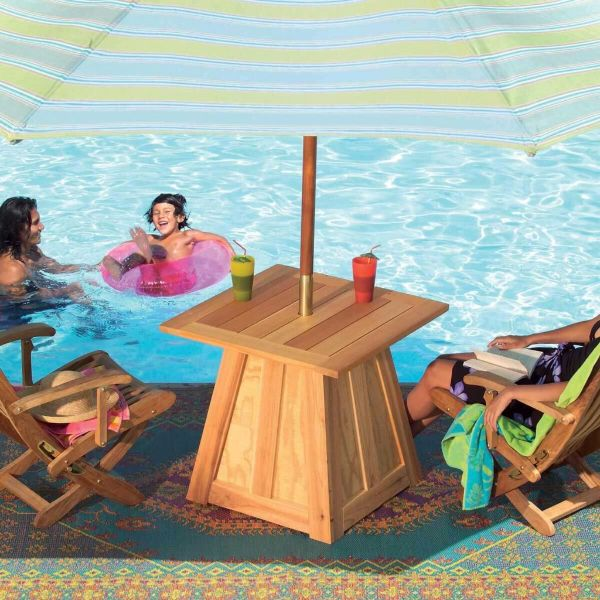 Swimming pool side table and chair set