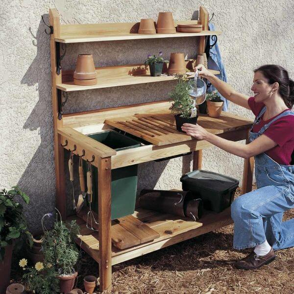 Wooden DIY kitchen garden table for Home